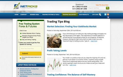 Screenshot of Blog netpicks.com - Trading Tips NetPicks - captured Sept. 23, 2014
