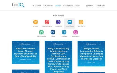 Screenshot of Press Page bioiq.com - Press Releases Archives - BioIQ - captured Jan. 4, 2019