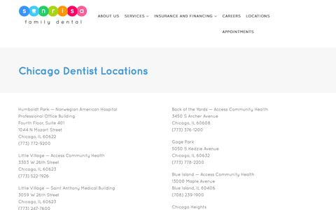 Screenshot of Contact Page Locations Page sonrisafamilydental.com - Chicago Dental Locations | Chicago Dentist Locations | Sonrisa Family Dental - captured Aug. 15, 2016