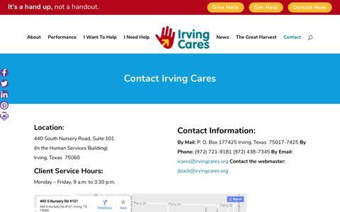 Screenshot of Contact Page irvingcares.org - Contact - Irving Cares - captured June 8, 2017