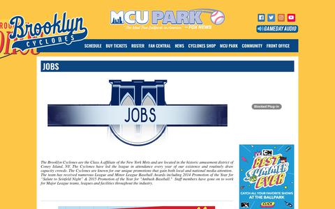 Screenshot of Jobs Page brooklyncyclones.com - brooklyncyclones.com: Jobs - captured Aug. 4, 2018