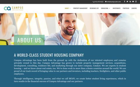 Screenshot of About Page campusadv.com - About Campus Advantage Student Housing Services - captured Sept. 26, 2018