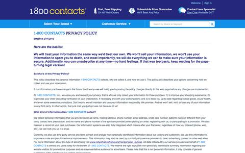 Screenshot of Privacy Page 1800contacts.com - Privacy Policy | 1-800 CONTACTS - captured June 20, 2017