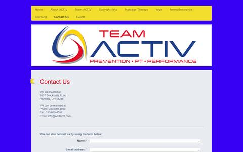 Screenshot of Contact Page activpt.com - ACTIV Physical Therapy - Contact Us - captured March 7, 2016