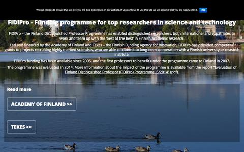 Screenshot of Home Page fidipro.fi - FiDiPro | Finland Distinguished Professor Programme - captured Oct. 10, 2015