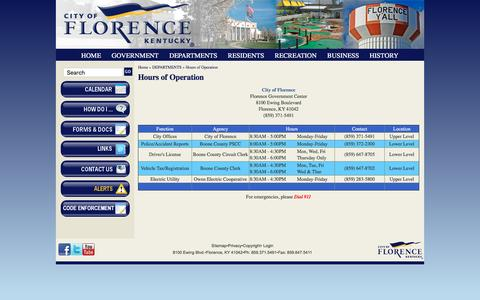 Screenshot of Hours Page florence-ky.gov - Hours of Operation | City of Florence, KY - captured Nov. 6, 2016