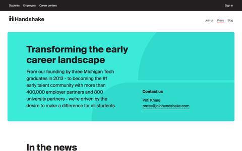 Screenshot of Press Page joinhandshake.com - Press | Handshake - captured Aug. 20, 2019