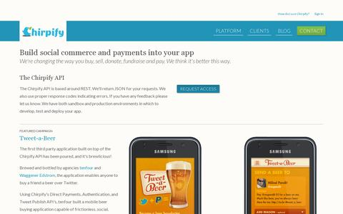 Screenshot of Developers Page chirpify.com - Developers | Chirpify helps Developers build social commerce and payments - captured July 19, 2014