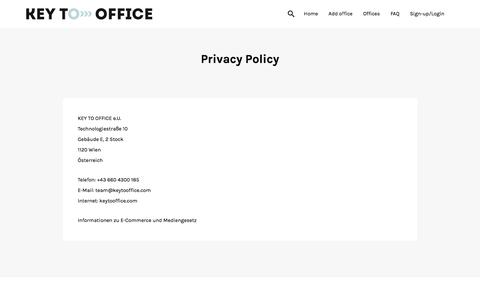 Screenshot of Privacy Page keytooffice.com - Privacy Policy » KEY TO OFFICE.COM - captured Aug. 8, 2016