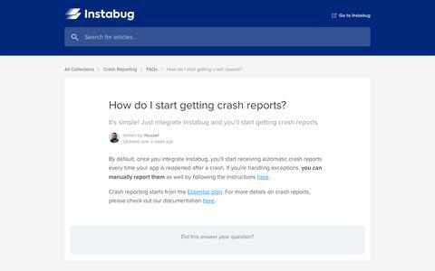 Screenshot of Support Page instabug.com - How do I start getting crash reports?   Instabug Help Center - captured Dec. 3, 2019