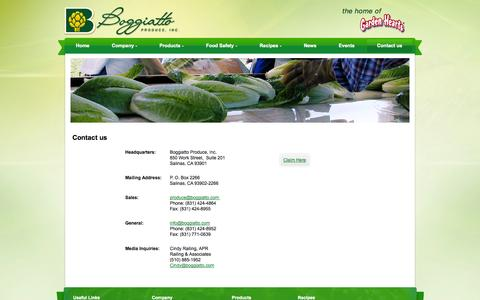 Screenshot of Contact Page boggiattoproduce.com - Contact us - captured Oct. 5, 2014