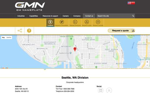 Screenshot of Contact Page Locations Page gmnameplate.com - Contact us | GMN - GM Nameplate - captured July 17, 2018