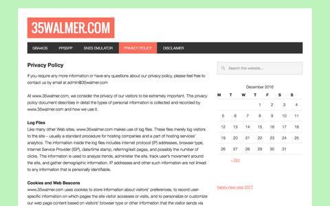 Screenshot of Privacy Page 35walmer.com - Privacy Policy - 35Walmer.com - captured Dec. 21, 2016