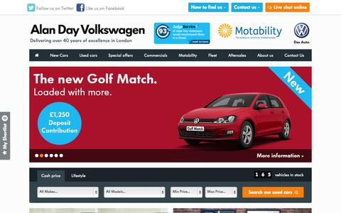 Screenshot of Home Page alandayvw.co.uk - New and Used Volkswagen Cars, Servicing and More | London | Alan Day VW - captured Oct. 4, 2014