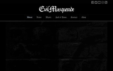 Screenshot of About Page evilmasquerade.com - The Metal Wildcard Since 2003 - EVIL MASQUERADE - captured Nov. 30, 2018