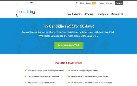 Screenshot of Pricing Page candidio.com - Plans of all sizes! | Candidio - captured Nov. 2, 2014