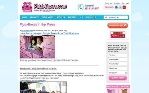 Screenshot of Press Page piggyboxes.com - Press Room | PiggyBoxes - captured Oct. 2, 2014