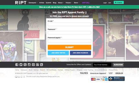 Screenshot of Signup Page riptapparel.com - Register at RIPT Apparel - captured Sept. 22, 2014
