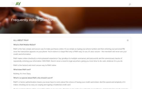 Screenshot of FAQ Page paay.co - Frequently Asked Questions | PAAY - captured July 19, 2014