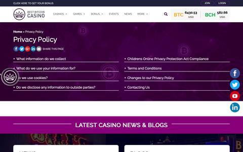 Screenshot of Privacy Page bestbitcoincasino.com - Best Bitcoin Casino Privacy Policy - captured Nov. 6, 2018