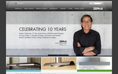 Screenshot of Home Page zephyronline.com - Zephyr - Range Hoods - Stove Hoods - captured Oct. 7, 2014