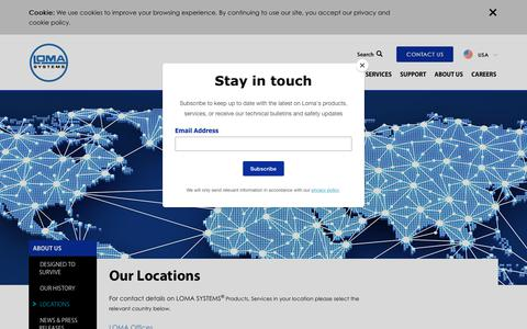 Screenshot of Locations Page loma.com - Loma Systems | Locations - captured Sept. 29, 2018