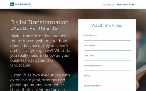 Screenshot of Landing Page nerdery.com - Digital Transformation - Executive Insights | Nerdery - captured March 27, 2018