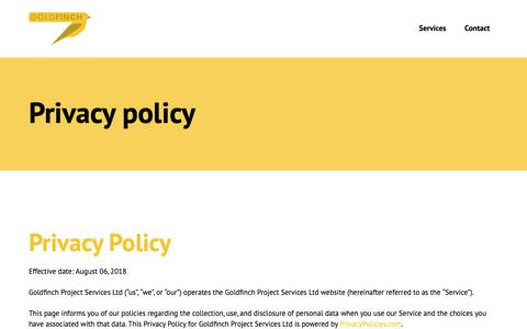 Screenshot of Privacy Page goldfinchpsl.com - Privacy policy - Goldfinch Project Services Ltd - captured Sept. 29, 2018