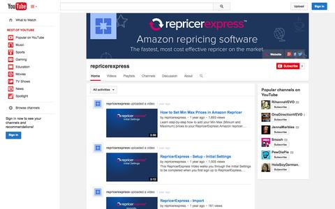 Screenshot of YouTube Page youtube.com - repricerexpress  - YouTube - captured Oct. 29, 2014