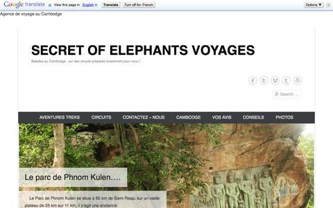 Screenshot of Home Page Menu Page secretofelephants.com - voyage au Cambodge, travel in Cambodia. - captured Oct. 3, 2014