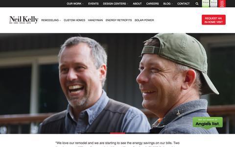 Screenshot of Home Page neilkelly.com - Remodeling, Custom Home Builder - Oregon, Seattle, WA - Neil Kelly - captured Jan. 14, 2016