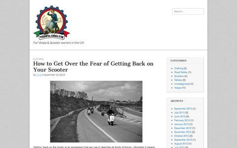 Screenshot of Blog vespa.org.uk - Vespa.org.uk | For Vespa & Scooter owners in the UK - captured Aug. 14, 2015