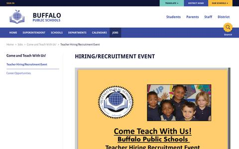 Come and Teach With Us! / Teacher Hiring/Recruitment Event