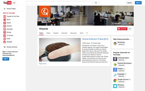 Screenshot of YouTube Page youtube.com - Hitcents  - YouTube - captured Oct. 22, 2014
