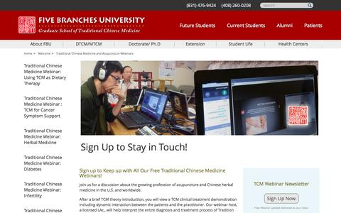 Screenshot of Signup Page fivebranches.edu - Sign Up to Stay in Touch! - Five Branches University | Five Branches University - captured Nov. 25, 2016