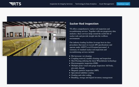 Screenshot of Services Page rodservices.com - RTS - Inspection & Integrity Services - captured Sept. 25, 2018