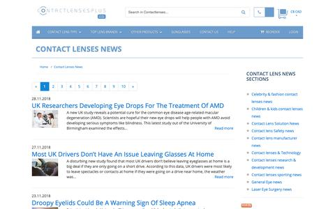 Screenshot of Press Page contactlensesplus.ca - Contact Lenses News :: Buy Cheap Contact lenses direct from Canada - captured Dec. 1, 2018
