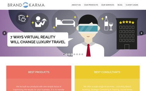 Screenshot of Home Page brand-karma.com - Brand Karma | Virtual Reality & Digital Marketing for Hotels - captured Oct. 1, 2015