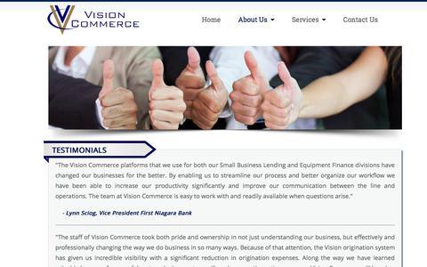 Screenshot of Testimonials Page visioncommerce.com - Testimonials - captured Nov. 3, 2014
