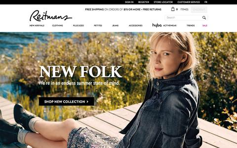 Screenshot of Home Page reitmans.com - Reitmans   Shop Online for Women's Clothing - captured Aug. 16, 2015
