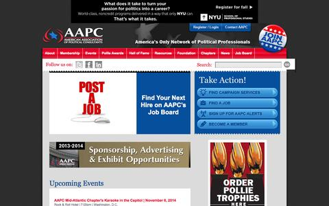 Screenshot of Home Page theaapc.org - American Association of Political Consultants (AAPC) - captured Oct. 4, 2014