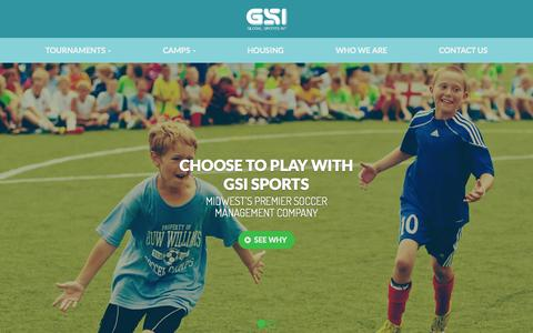 Screenshot of Home Page gsisports.com - GSI Sports - Youth Tournaments, Leagues and Camps - captured Sept. 25, 2015
