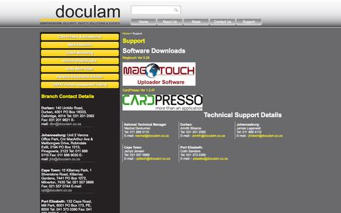 Screenshot of Support Page doculam.co.za - Support - captured Sept. 30, 2014