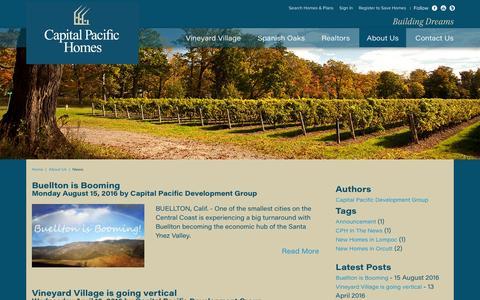 Screenshot of Press Page cphhomes.com - Capital Pacific Development News - captured Oct. 21, 2016