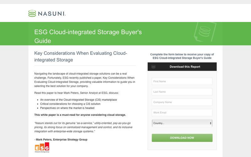 ESG Cloud-integrated Storage Buyer's Guide | Nasuni