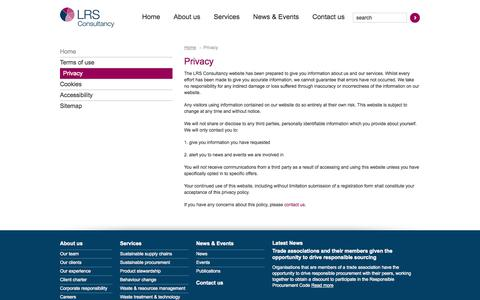 Screenshot of Privacy Page lrsconsultancy.com - Privacy | LRS Consultancy - Leading resource sustainability - captured Sept. 26, 2014