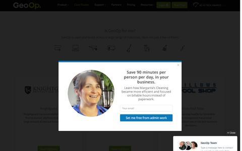 Screenshot of Case Studies Page geoop.com - GeoOp Customers - captured July 3, 2016