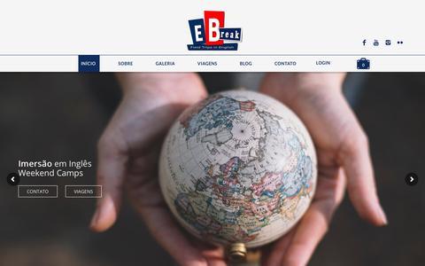 Screenshot of Home Page englishbreak.com.br - Conversação e Diversão! | Venha praticar com a English Break - captured July 19, 2018