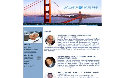 Screenshot of Team Page demtechventures.com - Demtech Ventures - captured Sept. 30, 2014