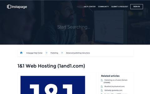 Screenshot of Support Page instapage.com - 1&1 Web Hosting (1and1.com) – Instapage Help Center - captured Nov. 9, 2018
